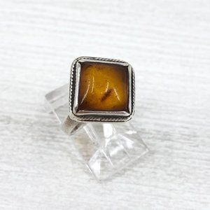 Sterling Silver Natural Amber Ring Size 6, Vintage